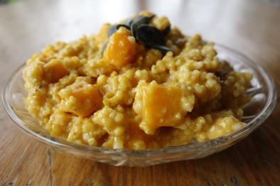 Millet with pumpkin, coconut, and banana